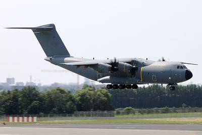 """This Belgian Air Force A400M """"Atlas"""" (CT-02; msn106) is seen here about to land on RWY01 at Brussels Airport, after having participated in the fly-by over Brussels on Belgium's national day."""