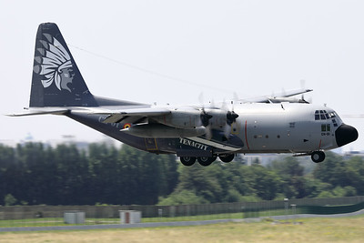 """This Belgian Air Force C-130H """"Hercules"""" (CH-01; msn382-4455) is seen here about to land on RWY01 at Brussels Airport, after having participated in the fly-by over Brussels on Belgium's national day, showing her beautiful new c/s (celebrating almost 50 years in the Belgian Air Force)."""