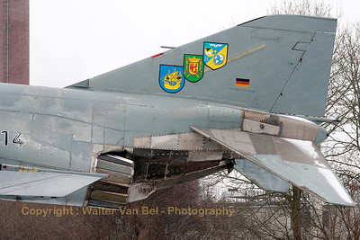 """Cold as ice"" and with a little bit of snow on its tail. Tail close-up of German Air Force F-4F Phantom II (38+14, cn4646)."