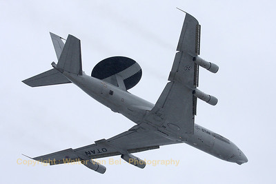A NATO AWACS made a low fly-by, under extreme snowy conditions.