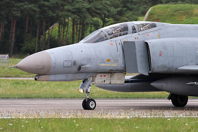 "Mission almost accomplished for this German Air Force F-4F Phantom II, from JG71 at Wittmund, returning to its shelter after landing on RWY26, at the end of an afternoon training mission. Note the ""shark-mouth"" art-work on its nose!"