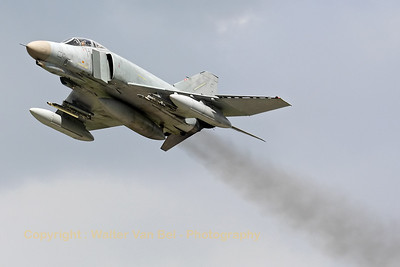 A German Air Force F-4F Phantom II, from JG71 at Wittmund, performs a smokey low-pass after a touch-and-go, during an afternoon training mission.