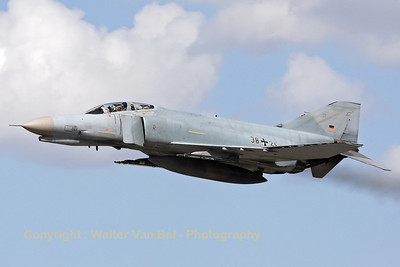 A German Air Force F-4F Phantom II, from JG71 at Wittmund, keeping it low after an overshoot during an afternoon training mission.