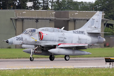 This grey A-4N Skyhawk from BAE Systems Flight Systems is completing its landing roll on RWY26, after another mission in support of JG71 at Wittmundhafen.
