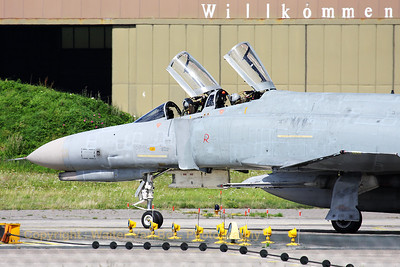 Mission almost completed for this German Air Force F-4F Phantom II (38+62, cn4779), from JG71 at Wittmund. Note the typical black marks (remains of shoe-polish) on the back of the Phantom.