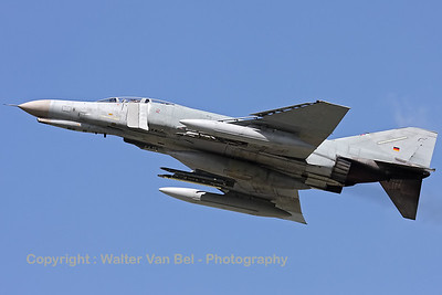 A German Air Force F-4F Phantom II, from JG71 at Wittmund, launches for an afternoon training mission.