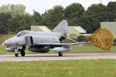 A German Air Force F-4F Phantom II, from JG71 at Wittmund, slowing down with its dragchute on RWY26, at the end of an afternoon training mission.