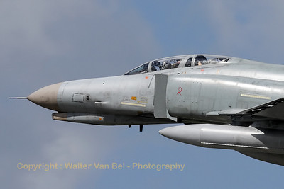 Close-up of a German Air Force F-4F Phantom II, from JG71 at Wittmund, overshooting at the start of an afternoon training mission.