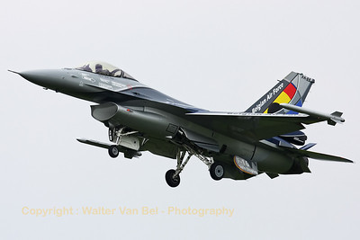 "This beautifully painted F-16AM from the Belgian Air Force - wearing the new ""Solo Display"" colors for the 2012 season - is seen here on final at Florennes, after another local training mission."