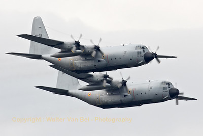 Two Belgian Air Force C-130H's (CH-05 and CH-04), in close formation, during their run-in for the Fly-past across Brussels on the Belgian National day (July21st).