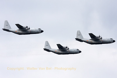 Three Belgian Air Force C-130H's (CH-12, CH-05 and CH-04), in formation, during their run-in for the Fly-past across Brussels on the Belgian National day (July21st).
