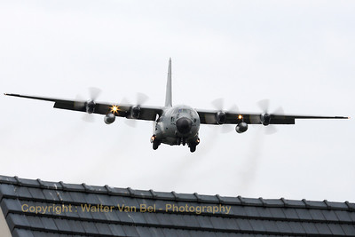 A Belgian Air Force C-130H (CH-04; cn382-4467), on final for landing at Melsbroek, after having participated in the Fly-past across Brussels on the Belgian National day (July21st).
