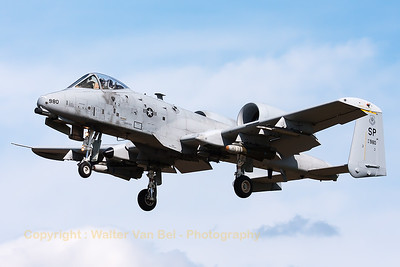 """A Spangdalem based A-10C (81-0980/SP; cn: A10-0675) on final for a low pass over RWY28 at Gilze-Rijen, during the """"GRAS""""-organized spottersday."""
