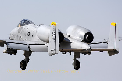"A Spangdalem based A-10C (81-0980/SP; cn: A10-0675) performing a low pass over RWY28 at Gilze-Rijen, during the ""GRAS""-organized spottersday."