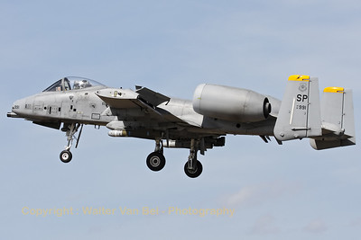 "A Spangdalem based A-10C (81-0991/SP; cn: A10-0686) on final for a low pass over RWY28 at Gilze-Rijen, during the ""GRAS""-organized spottersday."
