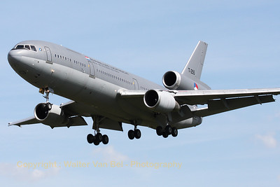 "The Royal Netherlands Air Force DC-10-30CF, seen here making some low approaches at Gilze-Rijen, during the ""GRAS""-organized spottersday."