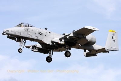 "A Spangdalem based A-10C (81-0980/SP; cn: A10-0675) on final for a low pass over RWY28 at Gilze-Rijen, during the ""GRAS""-organized spottersday."