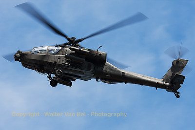 A Boeing AH-64D Apache Longbow (Q-21, cnDN021), from the Royal Netherlands Air Force, arrives at Gilze-Rijen, during the GRAS spottersday.