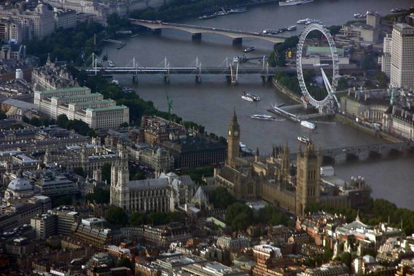 Westminster and River Thames, London, Fri 16 June 2015 - 2019.  Photographed from inside British Airways Airbus A319-100 G-EUPY.