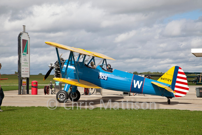 Boeing PT-13D Kaydet (E75), reg N4712V, at Sywell, getting fueled up in preparation for the show