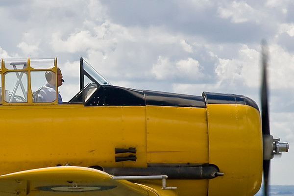 Close-up of the Harvard and pilot Gary Applebaum.