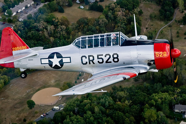 John Sinclair in the red-nosed T-6.