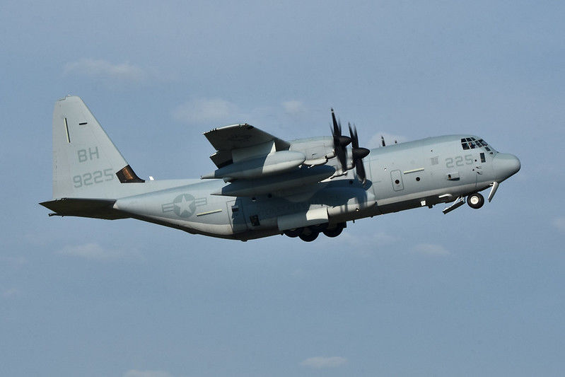 "U.S.M.C. KC-130J, ""OTIS28"" out of Cherry Point, N.C. departing after a cargo drop."