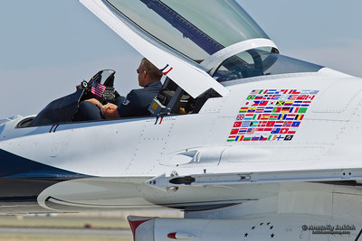 TRAVIS AIR FORCE BASE, CA - JULY 30: US Air Force Thunderbirds reserve Lockheed Martin F-16 Fighting Falcon being towed during  Airshow  on July 30, 2011 at  Travis Air Force Base, CA