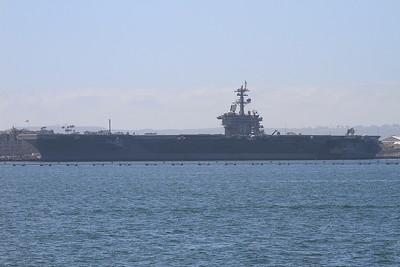 US Navy Nimitz-class aircraft carrier USS Carl Vinson, San Diego Naval base, undergoing a refit - 31/08/16.