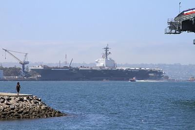 US Navy Nimitz-class aircraft carrier USS Theodore Roosevelt, San Diego Naval base, undergoing a refit - 31/08/16.