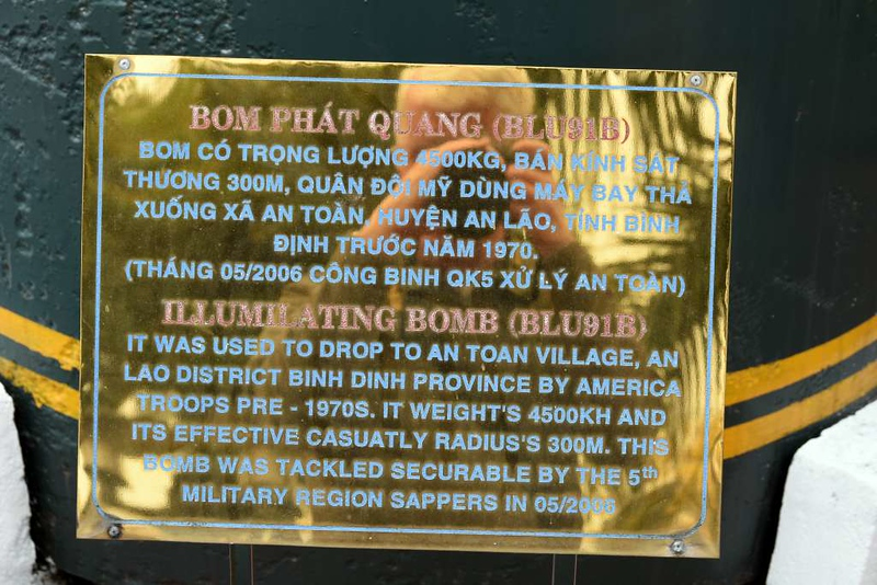 M-121 bomb, Museum of Military Zone 5, Da Nang, 12 March 2018 2.  The 10,000 pound / 4500kg bomb was dropped on An Toan village in Binh Dinh province in the late 1960s.  It did not explode and was made safe in May 2006.