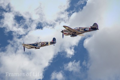 Curtiss P 40 and British Spitfire in Formation