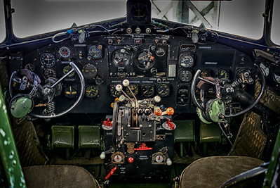 Cockpit of the C47 at the lyons Museum at John Wayne Airport.