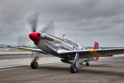 North American P-51C on the tarmac at John Wayne Airport.  HDR Version.