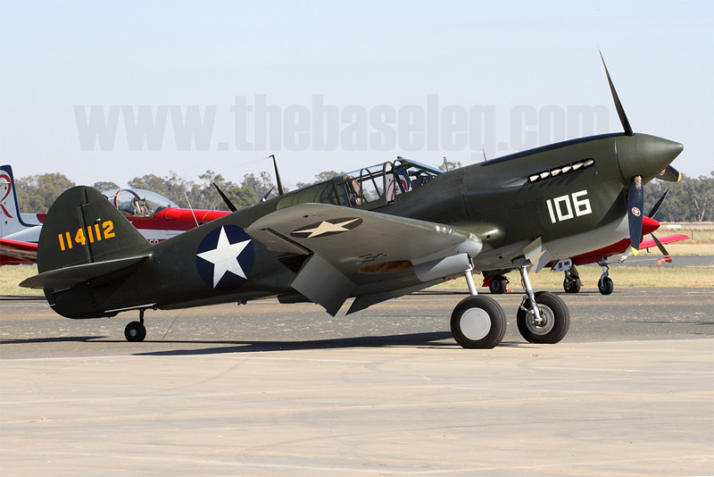 Judy Pay's Curtiss P-40F/Kittyhawk IIa VH-HWK is the only P-40F flying in the world. This aircraft crash-landed in the New Hebrides in December 1942, salvaged in 1990 and took to the air again in 2009.