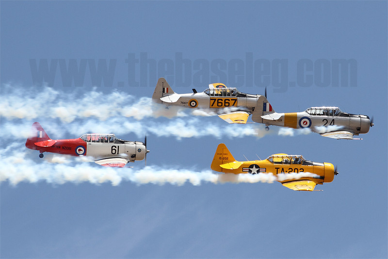 The Southern Knights aerobatics team, in their North American Havard/Texans, are put through their paces
