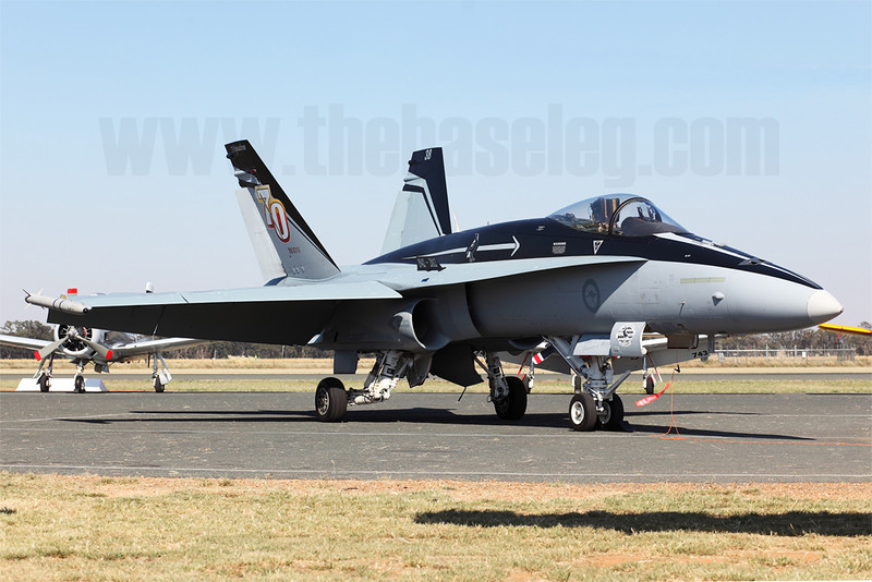 Royal Australian Air Force F/A-18A Hornet A21-38 in the stunning 75 Sqn 70th Anniversary scheme on the static display at the inaugural Warbirds Down Under Airshow at the Temora Aviation Museum.