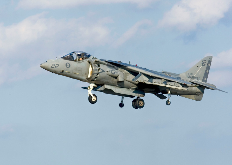 """AV-8B Harrier II<br /> From Wikipedia, the free encyclopedia<br /> <br /> Role V/STOL strike aircraft<br /> Manufacturer McDonnell Douglas / British Aerospace<br /> Boeing / BAE Systems<br /> First flight 9 November 1978 (YAV-8B)<br /> Introduction 12 January 1985 (AV-8B)<br /> June 1993 (AV-8B+)<br /> Primary users United States Marine Corps<br /> Spanish Navy<br /> Italian Navy<br /> Produced AV-8B/B+: 1981-2003[1]<br /> Unit cost US$6.7 million in 1988 (AV-8A)<br /> US$30-35 million in 1997 (Harrier II Plus)[2]<br /> Developed from Hawker Siddeley Harrier<br /> BAE Sea Harrier<br /> Variants BAE Harrier II<br /> <br /> The McDonnell Douglas AV-8B Harrier II is a family of second-generation vertical/short takeoff and landing or V/STOL jet multirole aircraft of the late 20th century. British Aerospace rejoined the project in the early 1980s, and it has been managed by Boeing/BAE Systems since the 1990s.<br /> <br /> Developed from the earlier Hawker Siddeley Harriers, it is primarily used for light attack or multi-role tasks, typically operated from small aircraft carriers and large amphibious assault ship. Versions are used by several NATO countries, including the United Kingdom, Spain, Italy, and the United States.<br /> <br /> The aircraft is known as the AV-8B Harrier II in United States Marine Corps service and the Harrier GR7/GR9 in British service. Though it shares the designation letter-number with the earlier AV-8A/C Harrier, the AV-8B Harrier II was extensively redesigned by McDonnell Douglas. The AV-8A was a previous-generation Hawker Siddeley Harrier GR.1A procured for the US Marine Corps. These models are commonly referred to as the """"Harrier Jump Jet""""."""