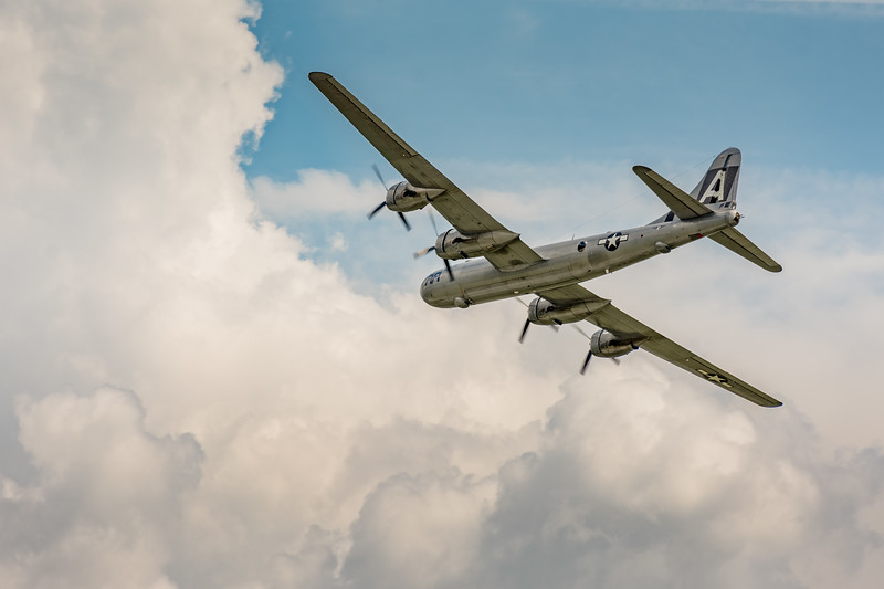 "Boeing B-29 Superfortress ""FIFI"" flyby at World War II weekend in Reading Pennsylvania on June 2, 2018."