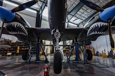"""P-38 Lightning """"White 33"""" up on jacks"""
