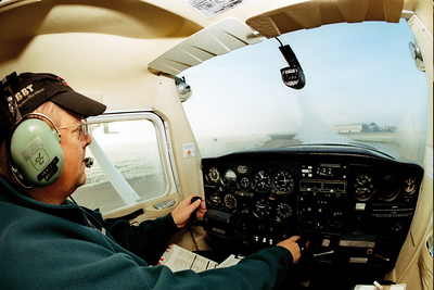 Mike Rushton taxiing to runway 10 in Cessna 152 G-BJKY