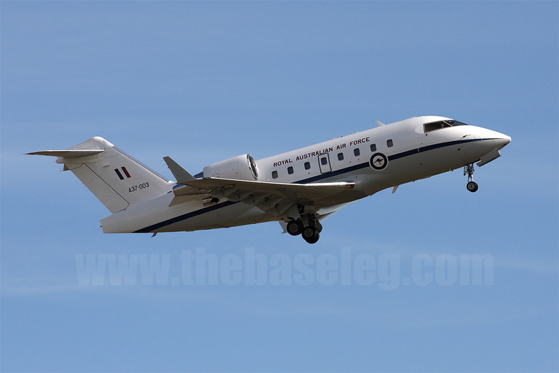 RAAF Challenger 604 VIP transport A37-003 retracts undercarriage after take off