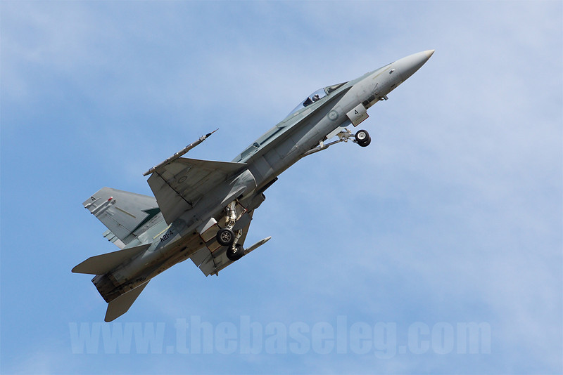 F/A-18A Hornet A21-4 of 77 Sqn executes an unrestricted climb to begin its display routine