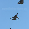 A 3-ship F-111 flypast showing off different wing sweep angles of the variable geometry wing.