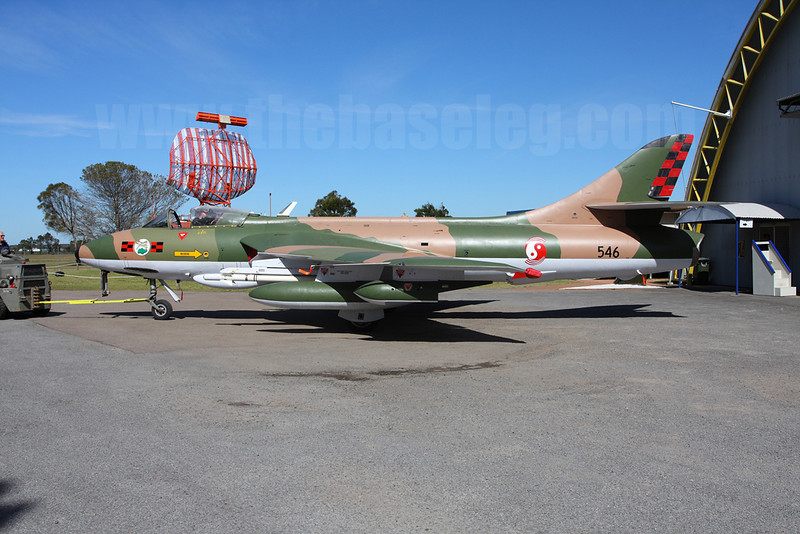 Ex-Singapore Air Force Hawker Hunter FGA.74 currently at Fighter World Museum, Williamtown, NSW