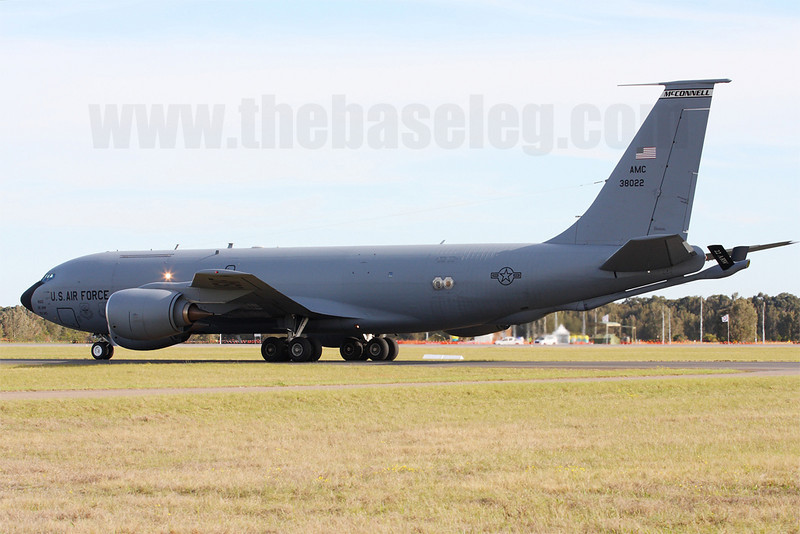 USAF KC-135R Stratotanker 63-8022 from the 22nd Air Refuelling Wing based at McConnell AFB, KS arrives from Honolulu.