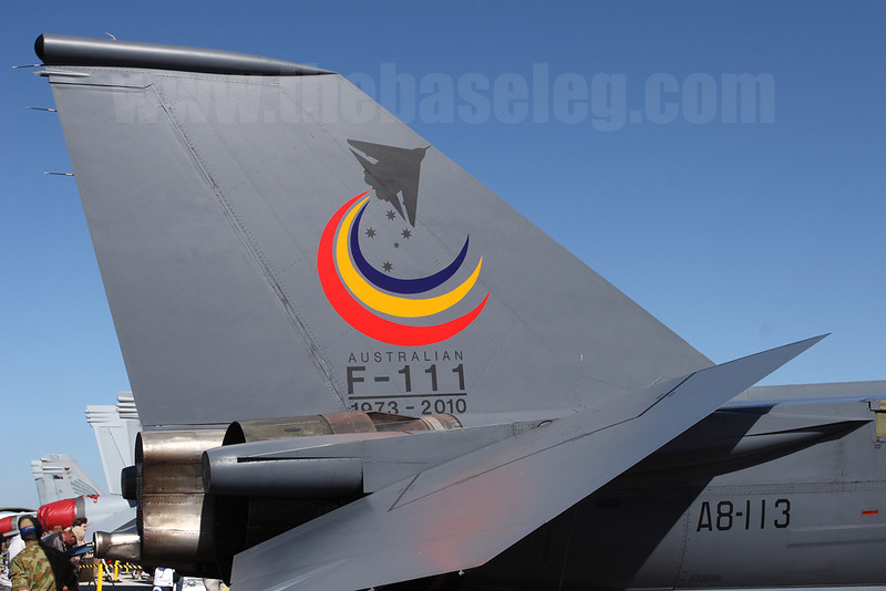 Closeup of the special retirement tail art on F-111C A8-113