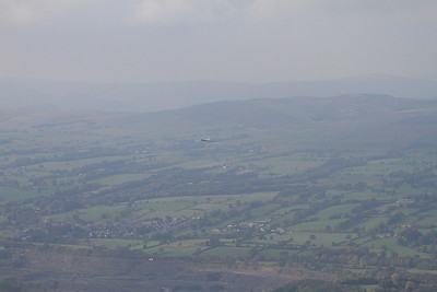XH558 heads West over Chatburn, heading towards Clitheroe - 10/10/15.