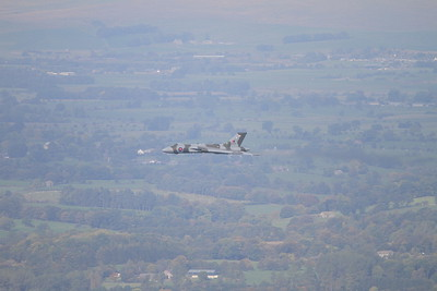 XH558 heads West over Downham, heading towards Clitheroe - 10/10/15.