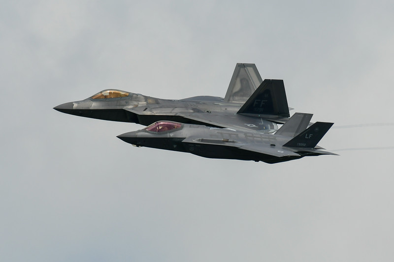 F22 Raptor plus F35A Lightning II at RIAT